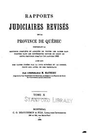 Rapports judiciaires revisés de la Province de Québec ...