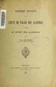 Rapport succinct sur létat du palais des Académies après le départ des allemands