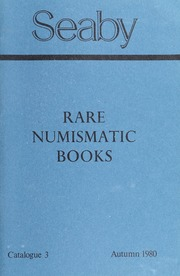 Rare Numismatic Books: Catalogue 3, Autumn 1980