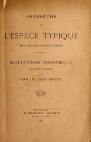 Recherche de l-espèce typique de quelques anciens genres.