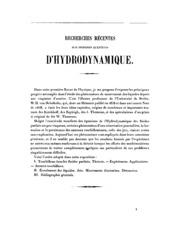 Recherches récentes sur diverses questions d-hydrodynamique: exposé des travaux de Von Helmholtz ...