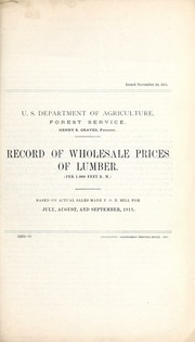 Record of wholesale prices of lumber / U.S. Department of Agriculture, Forest Service.