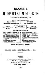 Recueil d-ophtalmologie : 3e-4e serie. 11e-33e annee