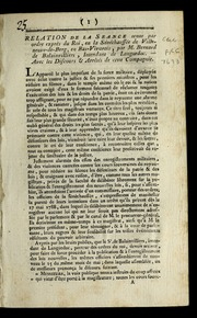 Relation de la seance tenue par ordre exprès du roi : en la sénéchaussée de Ville-neuve-de-Berg, en Bas-Vivarois ; par Bernard de Balainvilliers, intendant de Languedoc ; avec les discours & arrêtés de cette compagnie.