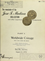 The remainder of the Jose T. Medina collection and other important consignments. [08/31/1970]