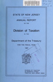 Annual report of the Division of Taxation in the Department of the Treasury : New Jersey ...