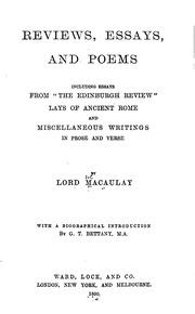 macaulays essays and poems Get this from a library macaulay's essays [thomas babington macaulay macaulay, baron.