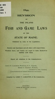 Revision of the inland fish and game laws of the state of for Maine fishing laws