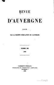 Vol 3 1886: Revue d-Auvergne