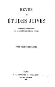 Vol 32: Revue des études juives