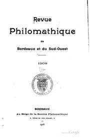 Revue philomathique de Bordeaux et du sud-ouest