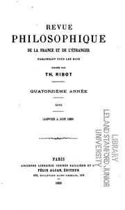 Vol 27: Revue philosophique de la France et de l-�etranger