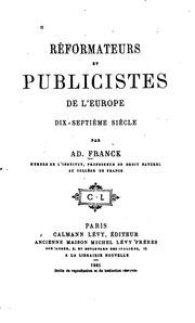 Réformateurs et publicistes de l-Europe: dix-septième siècle