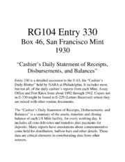 Cashier's Daily Statement ...