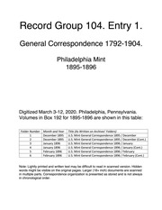 Record Group 104. Entry 1. General Correspondence, 1792 - 1899.