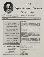 The Rittenhouse Society Correspondence, 1960-1989
