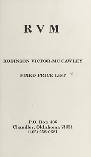 Robinson Victor-McCawley Fixed Price List #1