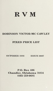 Robinson Victor-McCawley Fixed Price List #7