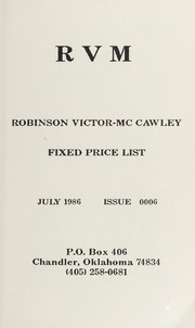 Robinson Victor-McCawley Fixed Price List #6