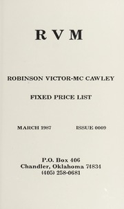 Robinson Victor-McCawley Fixed Price List #10