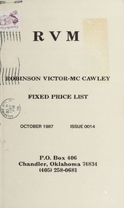 Robinson Victor-McCawley Fixed Price List #14
