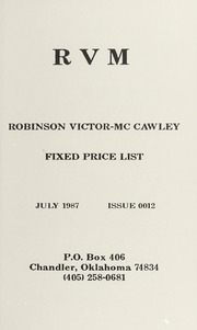 Robinson Victor-McCawley Fixed Price List #12