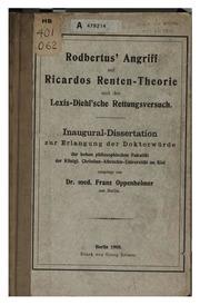 Rodbertus- angriff auf Ricardos renten-theorie und der Lexis-Diehl-sche rettungsversuch ..