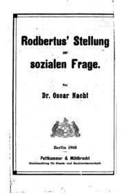 Rodbertus- Stellung zur sozialen Frage