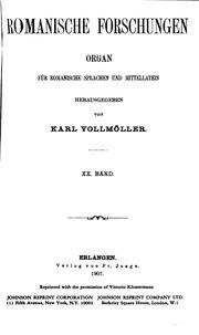 Vol 20: Romanische Forschungen: Organ für romanische Sprachen, Volks-und Literaturen