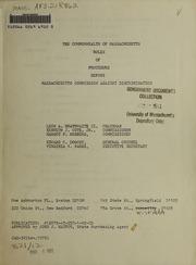 Rules of procedure before Massachusetts Commission Against Discrimination