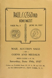 Sale number 1 : auction sale catalog of rare ancient, medieval and modern coins, medals, tokens, etc. ... [06/19/1937]