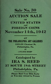 Sale No. 30 : Auction sale of United States and foreign coins ... at the Philadelphia Art Galleries ... [11/14/1942]