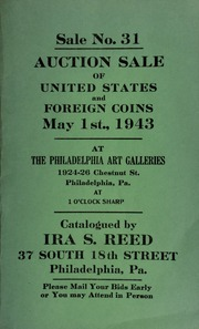 Sale No. 31 : Auction sale of United States and foreign coins ... at the Philadelphia Art Galleries ... [05/01/1943]