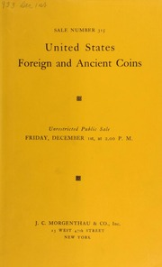 Sale number 315 : United States, foreign and ancient coins. [12/01/1933]