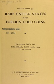 Sale number 336 : rare united states and foreign gold coins : selections from Mr. Waldo Newcomer ... [06/14/1934]