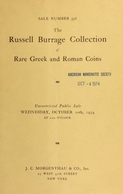 Sale number 338 : the Russell Burrage collection of rare Greek and Roman coins. [10/10/1934]