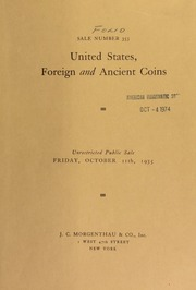 Sale number 353 : United States foreign and ancient coins : including a large number of gold pieces : the property of Richard De Silva Santos ... [10/11/1935]