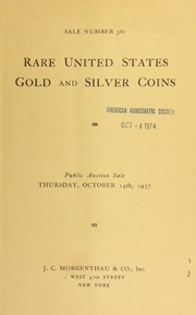 Sale number 380 : rare United States gold and silver coins ... [10/14/1937]