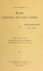 Sale number 382 : rare United States coins consisting of two different collections ... [11/16/1937]