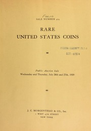 Sale number 404 : a splendid collection of United States coins : the property of a southern gentleman. [07/26-27/1939]