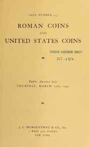Sale number 413 : rare Roman coins : the collection of Mr. Geo B. Hussey ... [03/14/1940]
