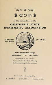 Sale of fine coin at the convention of the California State numismatic association. [11/11-13/1949]