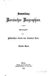 Vol 4: Sammlung bernischer Biographien