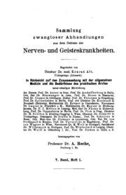 Sammlung zwangloser Abhandlungen aus dem Gebiete der Nerven- und Geisteskrankheiten
