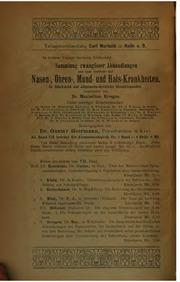 Vol 8: Sammlung zwangloser Abhandlungen aus dem Gebiete der Nasen-, Ohren-, Mund ...