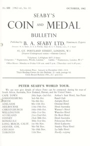 Seaby's Coin and Medal Bulletin: October 1962