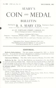 Seaby's Coin and Medal Bulletin: December 1962