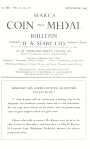 Seaby's Coin and Medal Bulletin: November 1962