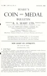 Seaby's Coin and Medal Bulletin: August 1965