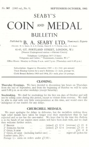 Seaby's Coin and Medal Bulletin: September/October 1965
